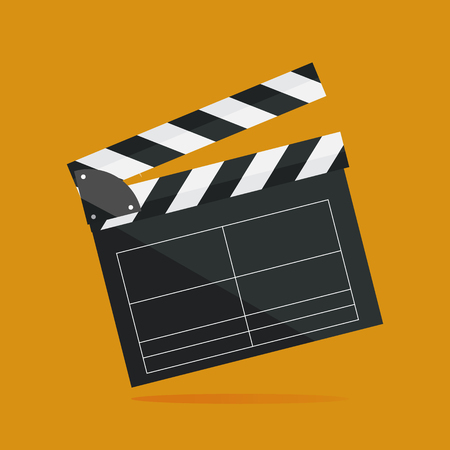 Clapperboard isolated on background. Video movie clapper equipment, icon. Vector illustration in flat style. Illustration