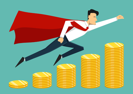 Illustration of super leader and super businessman. Super hero. Vector concept illustration.