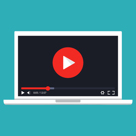movie film: Online video concept. Internet video illustration. Online learning concept. Streaming video. Vector