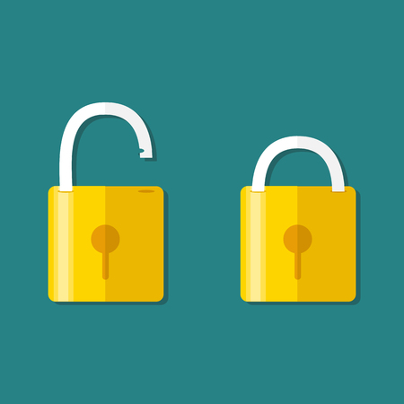 Lock icon, isolated on colored background. Vector. Opened and closed locks. Flat style.