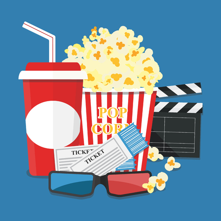 movie theater: Popcorn and drink. Film strip border. Cinema movie night icon in flat design style. Illustration