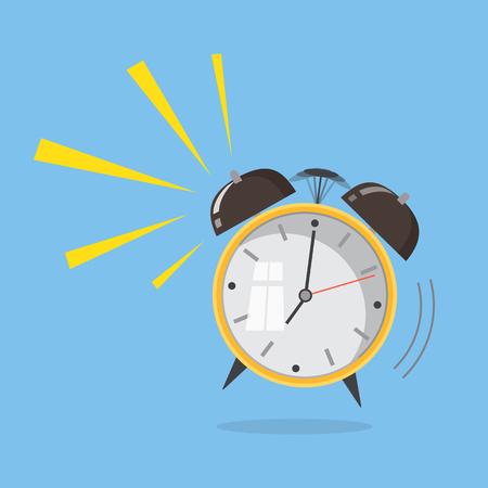 Flat design. Vector icon isolated on background. Cartoon alarm clock ringing. Wake up morning concept.