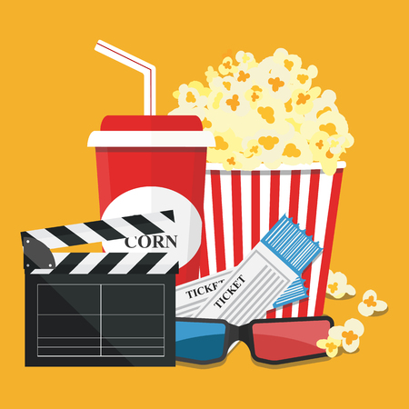 movie film: Popcorn and drink. Film strip border. Cinema movie night icon in flat design style. Illustration