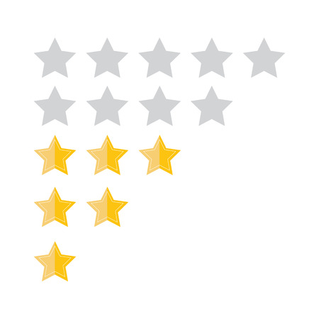 Customer review concept. Vector. Rating golden stars. Feedback, reputation and quality concept. Illustration