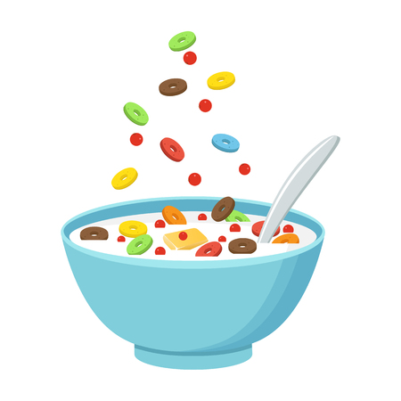 Vector illustration. Cereal bowl with milk, smoothie isolated on white background. Illustration
