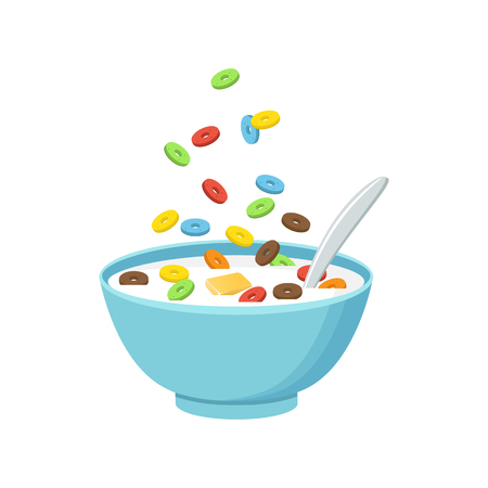 Vector illustration. Cereal bowl with milk, smoothie isolated on white background. Çizim