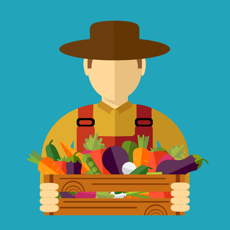 Farmer hat, picked vegetables. Vector illustration, icon Illustration