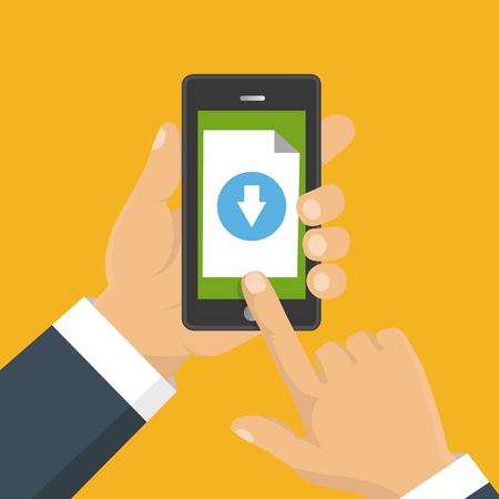 Bestand download concept knop op smartphonescherm. Hand houdt smartphone. Document downloaden, infographics. Plat ontwerp Vector Illustratie