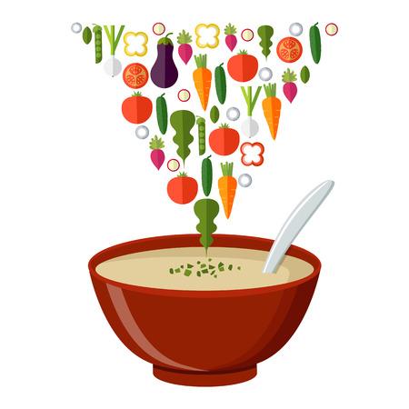 Soep Met Groenten Geïsoleerd Op Een Witte Achtergrond. Vector illustratie. Hete Kom Soep, Schotel Geïsoleerde Pictogram.