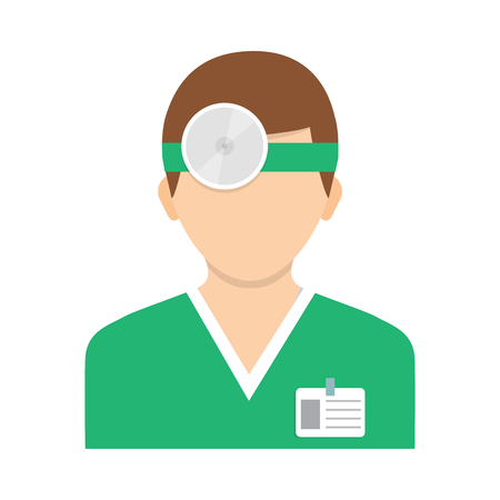 oculist: Flat style illustration. Vector illustration. Ophthalmologist with head mirror. Icon isolated on background.