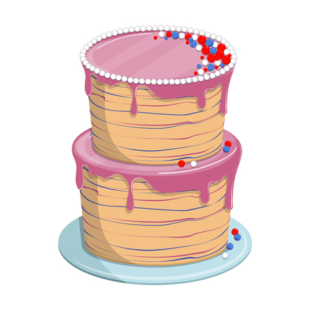 Vector illustration. Isolated on white background. Sweet biscuit cake with glaze for birthday or wedding holiday, party.