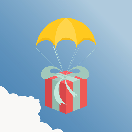 Flat design. Vector illustration. Delivery service. Parachute with parcel, gift in the sky. Holidays, delivery concept. Illustration