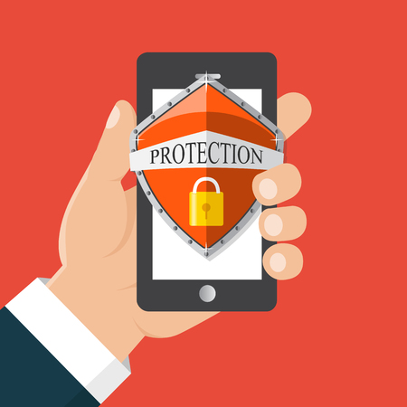 smartphone apps:  Mobile security app. User touch screen. Flat vector illustration. Hand holds a mobile phone.