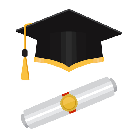Vector illustration in the flat style. Academic graduation cap isolated on the background. Illustration