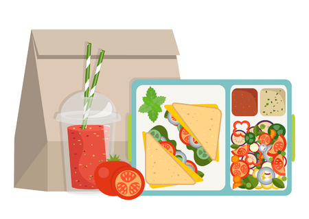Lunchbox with healthy food. The concept of a healthy lifestyle, losing weight, lose weight. Vector