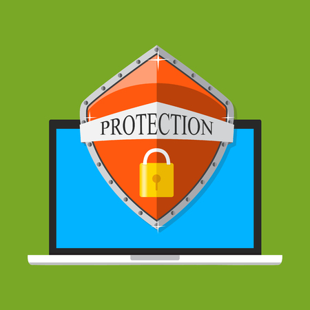 Laptop with shield and lock. Flat vector illustration. Computer security, security center, online safety, data protection concept. Illustration