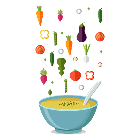 Soup with vegetables isolated  on white background. Vector illustration. Hot bowl of soup, dish isolated icon. Çizim