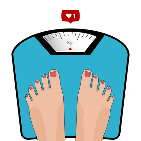yourself: Vector feet on the scale. Concept of weight loss, healthy lifestyles, diet, proper nutrition.
