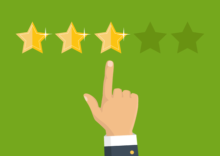 writer: Customer review concept. Vector. Rating golden stars. Feedback, reputation and quality concept. Hand pointing, finger pointing to five star rating.