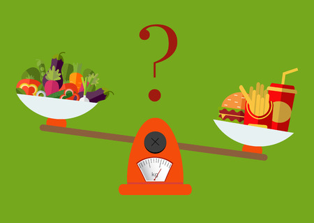 Vegetables and fast food on scales. Vector. Concept of weight loss, healthy lifestyles, diet, proper nutrition.