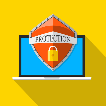 Laptop with shield and lock. Flat vector illustration. Computer security, security center, online safety, data protection concept.