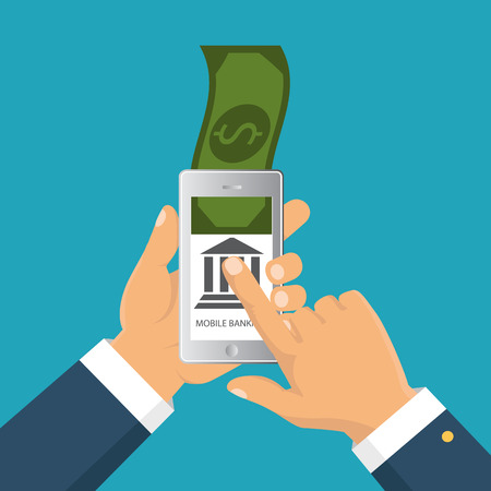 smartphone apps: Concept for mobile banking and online payment. Vector flat illustration. Flat cartoon style. Send money via smartphone