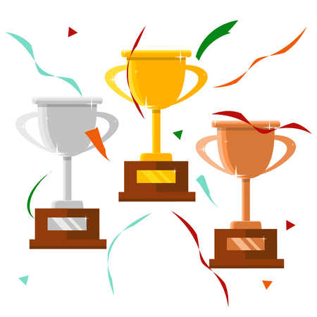 Champion trophy flat icon. Winner cup. Championship and leadership isolated illustration. First place winner concept. Vector