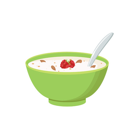 Cereal bowl with milk, smoothie, concept of healthy and wholesome breakfast isolated on white background.