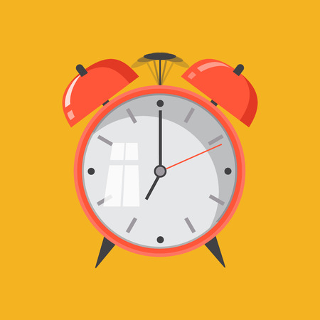 up time: Flat design. Vector icon isolated on background. Cartoon alarm clock ringing. Wake up morning concept.