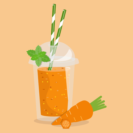 detox: Smoothie take away. Healthy fresh juice. Cartoon smoothie in a transparent plastic glass. Vector illustration