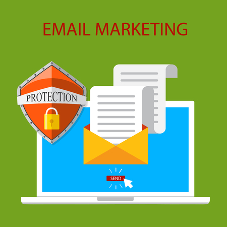 Vectorillustratie, vlakke stijl. E-mail marketing conceptontwerp.