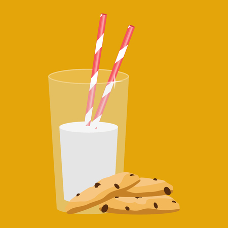 Vaso de leche y galletas. Desayuno. Ilustración del vector