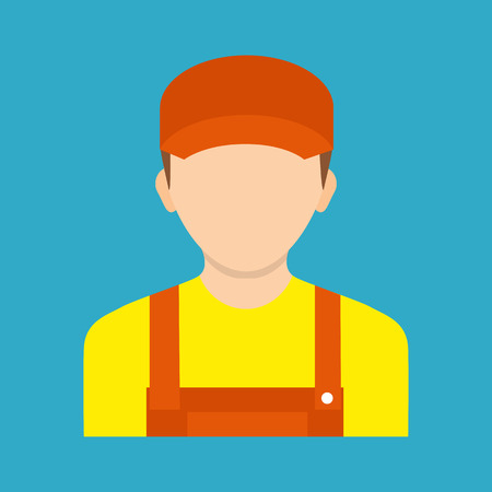 plug hat: Avatar electrician. Vector illustration. Electrician worker. Icon electric signs of work safety isolated on background.