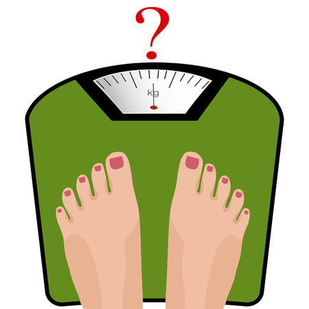 Vector feet on the scale. Concept of weight loss, healthy lifestyles, diet, proper nutrition.  Illustration