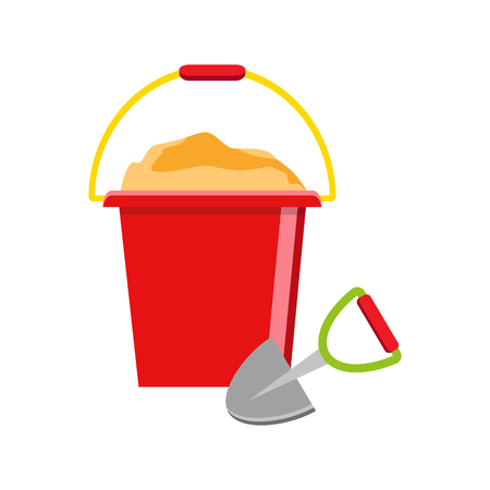 Child beach toys a pail with sand and a shovel isolated.