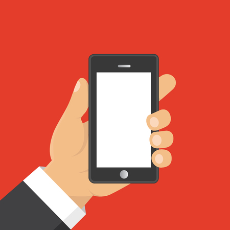 touchpad: Vector. Hand holding smart phone. Business concept, flat design