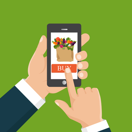 Buy food online. Flat vector illustration. Hand ordering fresh food hold smartphone with food basket on the screen.