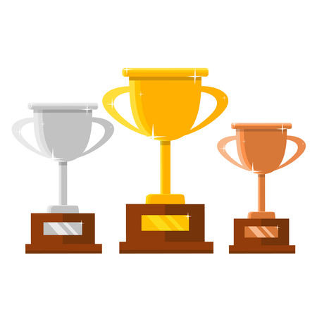 Champion trophy flat icon, winner cup, championship and leadership, first place winner concept vector isolated illustration. Illustration