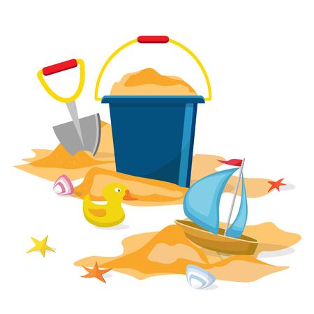 Illustration de dessin animé de l'heure d'été. Vecteur. Jouets de plage isolés. Seau, pelle, étoile de mer, seau, caneton, coquille, sable. Banque d'images - 79876879