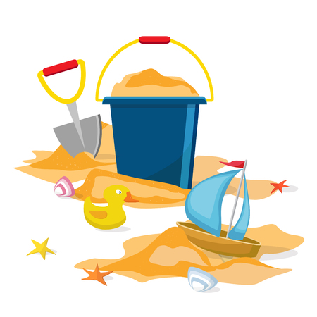 Cartoon illustration of Summer time. Vector. Beach toys isolated. Pail, shovel, starfish, bucket, duckling, shell, sand. Vectores