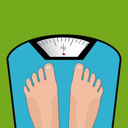 weigh machine: Vector feet on the scale. Concept of weight loss, healthy lifestyles, diet, proper nutrition.  Illustration