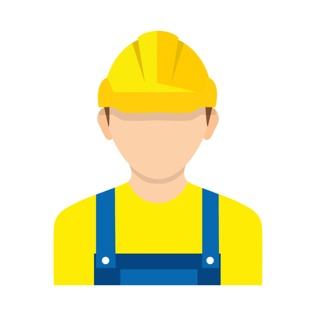 Worker wearing hard hat. Vector. Construction worker, builder icon isolated on background.