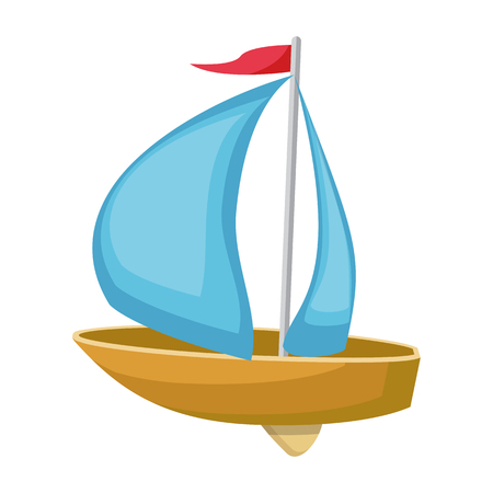 Vector illustration. 3D shading style icon of kids fishing boat. Illustration