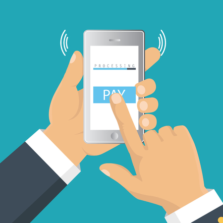 Vector illustration. Mobile payment concept. Hand holding a phone. Smartphone wireless money transfer. Flat design. Illustration