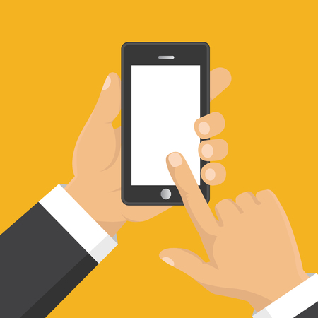 using tablet: Vector. Hand holding smart phone. Business concept, flat design
