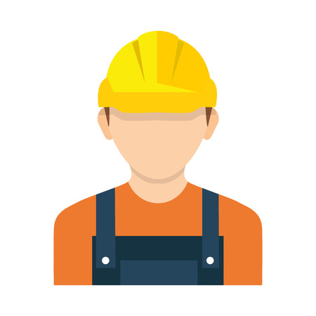 Worker wearing hard hat. Vector. Construction worker, builder icon isolated on background. 向量圖像