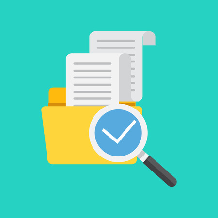finding: Flat design, vector illustration. File folder directory and magnifying glass, tick checkmark icon. Search concept. Data and information.