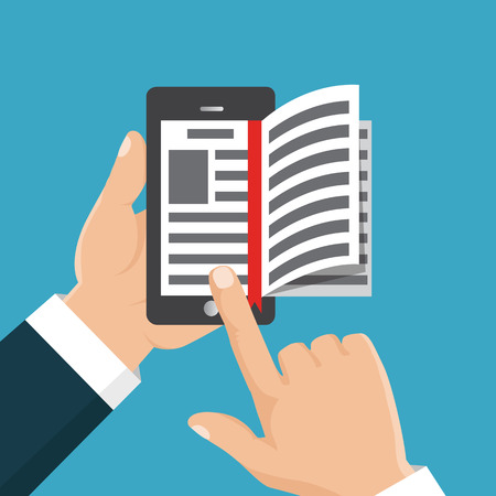 using tablet: Concept of education. Vector illustration isolated on white background. E-book in hand. The thumb flips through the pages of the electronic book.
