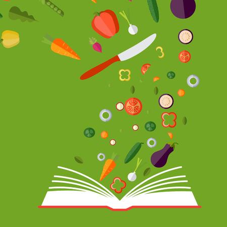 Vegetarian, healthy eating concept. Vector concept illustration. Book of recipes, cookbook, best recipes.