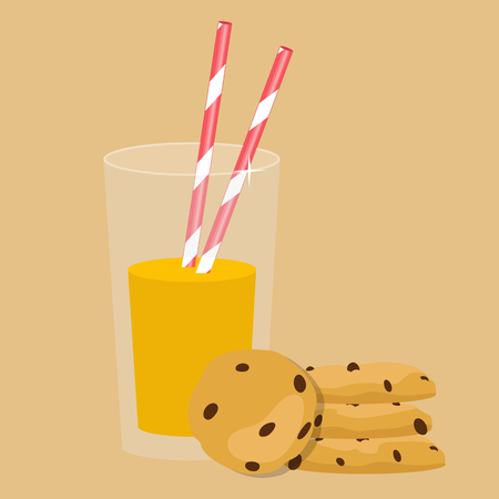Icon of breakfast isolated on background. Vector illustration. Orange juice in glass and cookies.